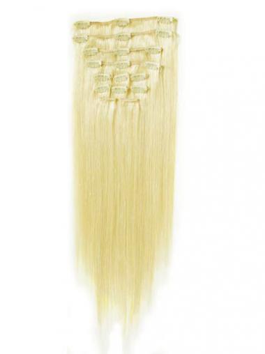Schone Glatten Blonden Clip in Haar Extensions