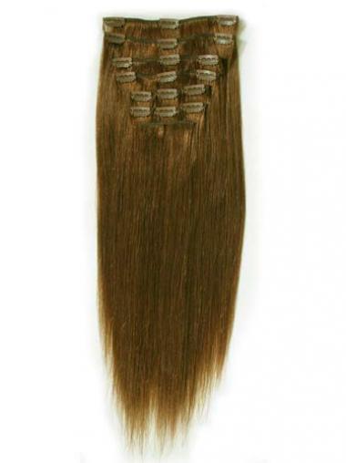 Attraktive Glatten Braunen Clip in Haar Extensions