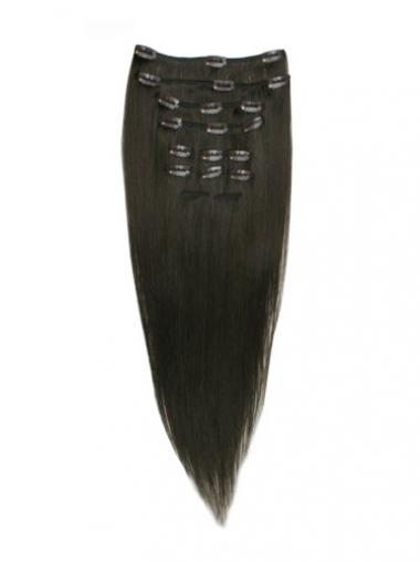 Moderne Glatten Schwarzen Clip in Haar Extensions