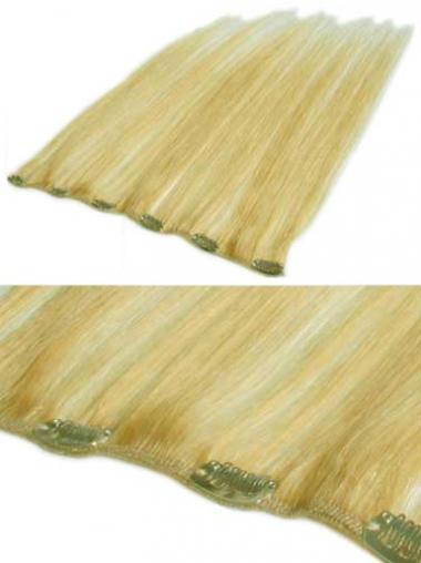 Komfortable Glatten Blonden Clip in Haar Extensions