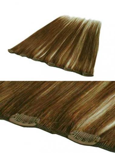 Exquisite Glatten Braunen Clip in Haar Extensions