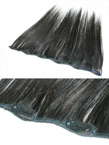 Ideale Glatten Schwarzen Clip in Haar Extensions