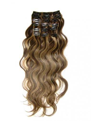 Sehr Wunderbare Gewellten Braunen Clip in Haar Extensions