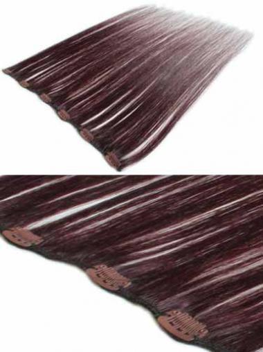 Erschwingliche Glatten Rotbraunen Clip in Haar Extensions