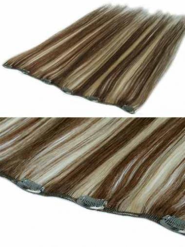 Erstaunliche Glatten Braunen Clip in Haar Extensions