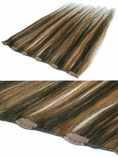 Moderne Glatten Braunen Clip in Haar Extensions