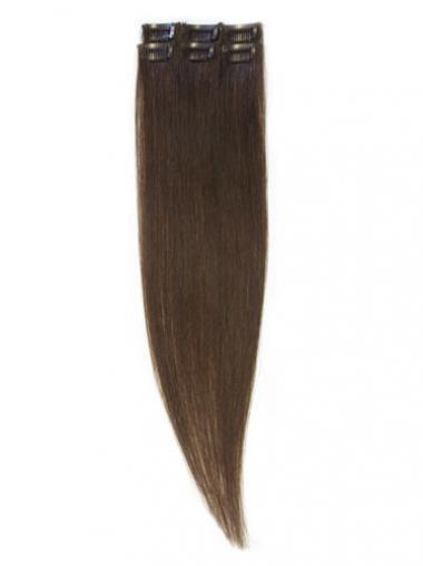 Komfortable Glatten Braunen Clip in Haar Extensions