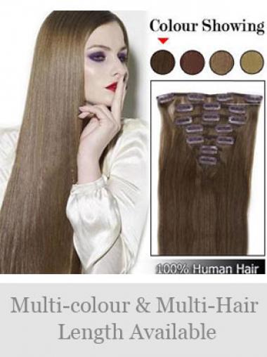 Unglaubliche Glatten Braunen Clip in Haar Extensions