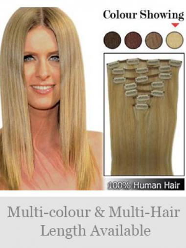 Mode Glatten Blonden Clip in Haar Extensions
