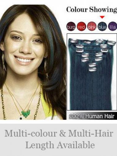 Beliebte Glatten Schwarzen Clip in Haar Extensions
