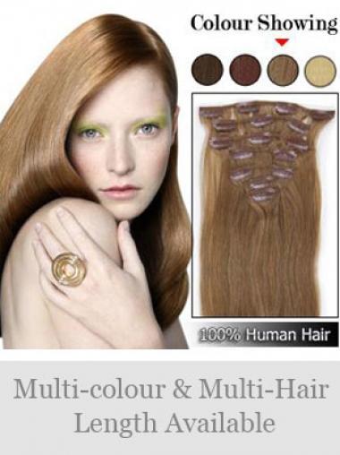 Naturliche Glatten Braunen Clip in Haar Extensions