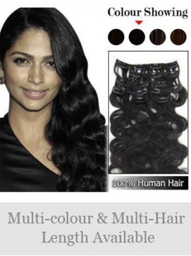 Schone Gewellten Schwarzen Clip in Haar Extensions