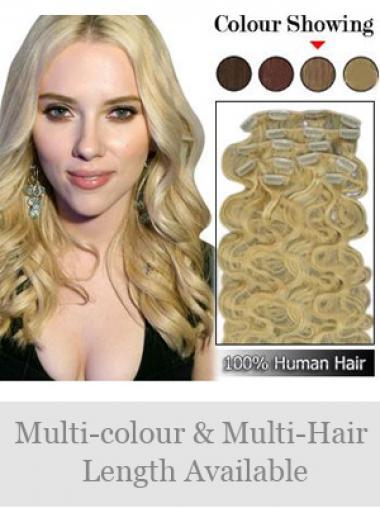 Flexibilitäte Gewellten Blonden Clip in Haar Extensions
