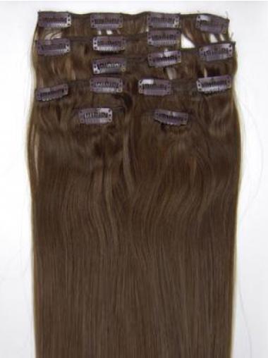 Hübsche Glatten Braunen Clip in Haar Extensions