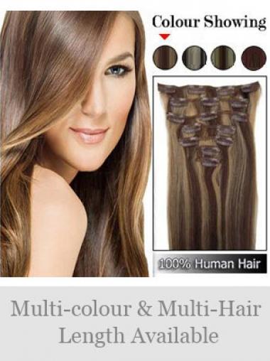 Große Glatten Braunen Clip in Haar Extensions