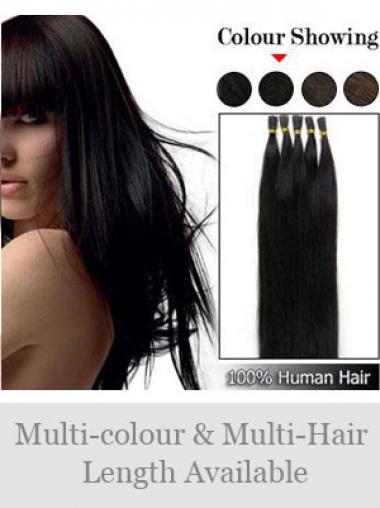 Schwarze Idealen Stick/I Tip Haar Extensions