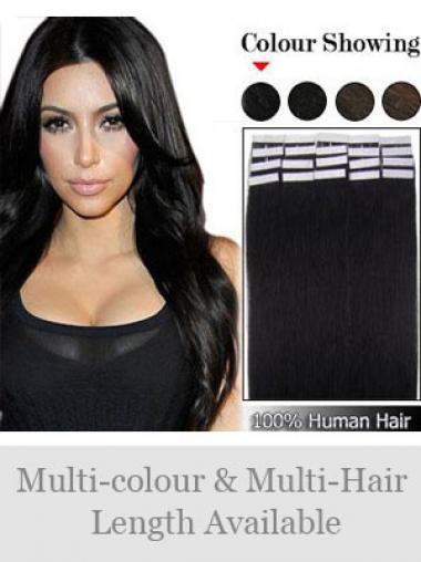 Schwarze Glatten Dauerhaften Tape in Haar Extensions