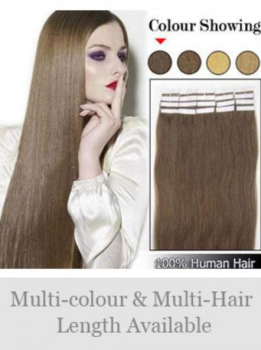 Braune Glatten Stil Tape in Haar Extensions