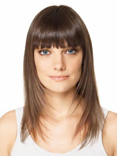 Tope Glatten Braunen Clip In Haarteile