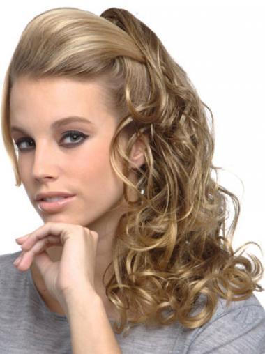 Modäne Gelockten Blonden Clip In Haarteile
