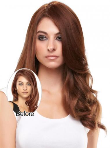 Neue Gewellten Rotbraunen Clip In Haarteile