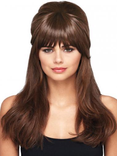 Weiche Glatten Braunen Clip In Haarteile