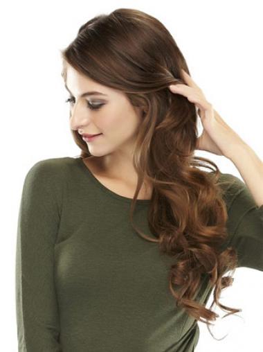Modische Gewellten Braunen Clip In Haarteile