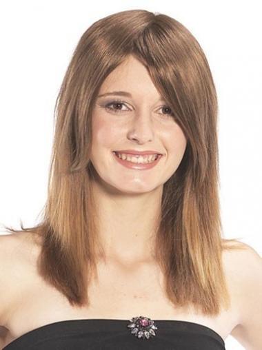 Glatte Braunen Weich Echthaar Haarteile