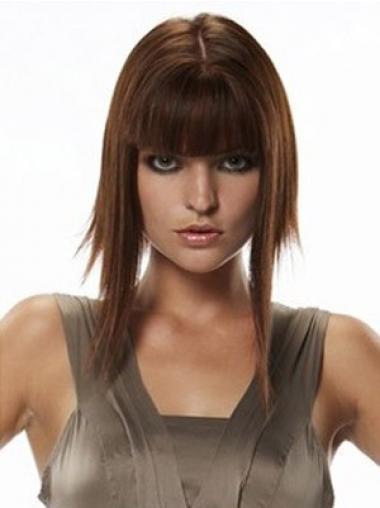 Glatte Rotbraunen Dauerhaften Echthaar Haarteile