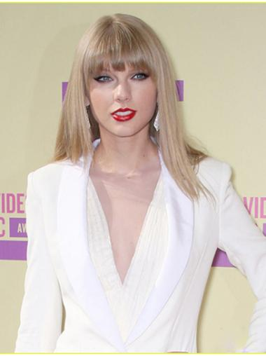 Blonde Glatten Beliebten Taylor Swift EchthaarPerücken