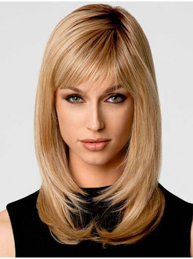 Modäne Blonden Stufigen Mittleren Perücken