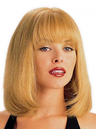 Moderne Mittleren Blonden Monofilament Perücken