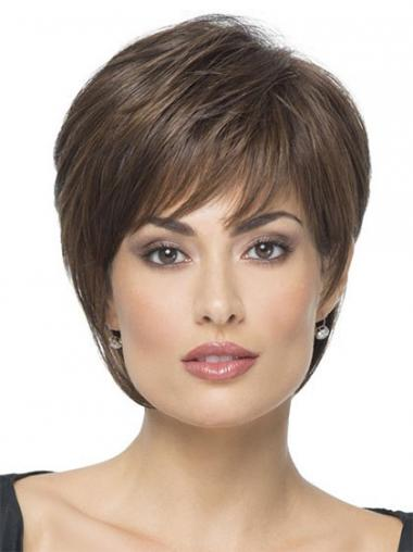 Braune Haarschnitt Synthetikperücken
