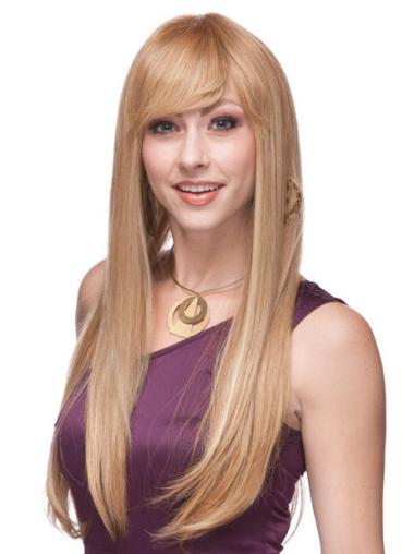 Tope Langen Blonden Monofilament Perücken