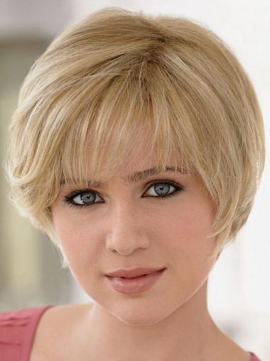 Geeignete Blonden Glatten Mono-Filmansatz Perücken