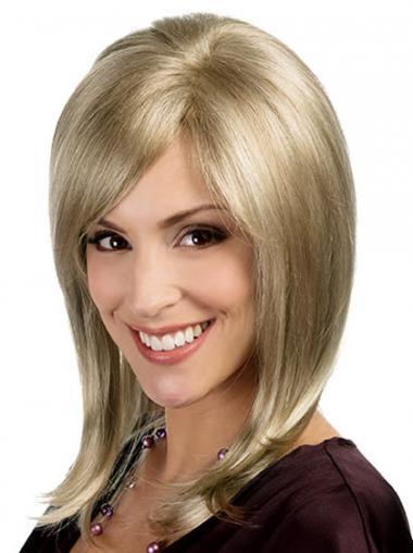 Neue Mittleren Blonden Monofilament Perücken