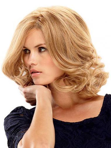 Komfortable Mittleren Blonden Monofilament Perücken