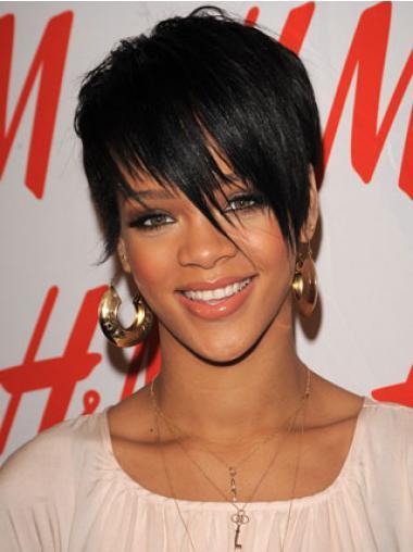 Schwarze Glatten Perfekt Rihanna EchthaarPerücken