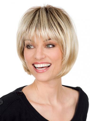 Glatte Blonden Hochwertigen Grauen Perücken