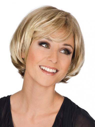 Ideale Mittleren Blonden Monofilament Perücken