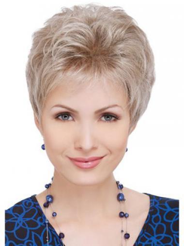 Gewellte Grauen Haarstruktur  Synthetische Perücken