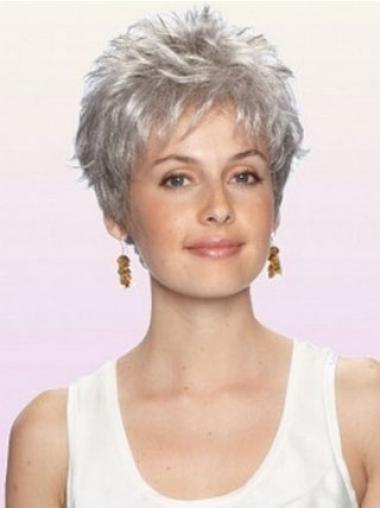 Grau Perücken Kurze Haar Welliges Boycuts Stilvolle Graue Perücke