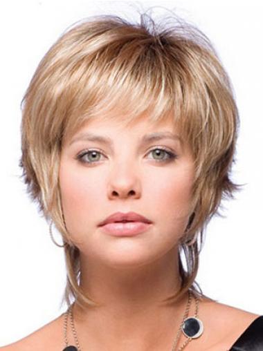 Blondes Guten Synthetik Glatte Kurzen Perücken