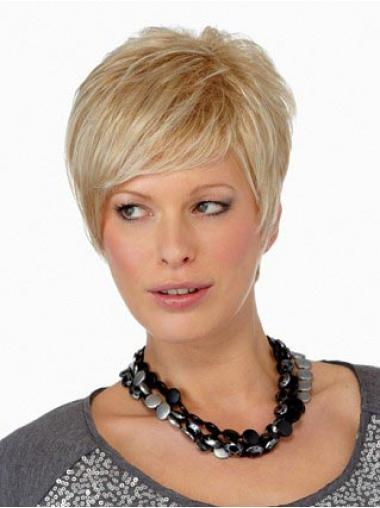 Blonde Kurzen Synthetik Glatte Billigen  Perücken