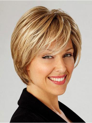 Feine Stufigen Blonden Perücken für Krebs