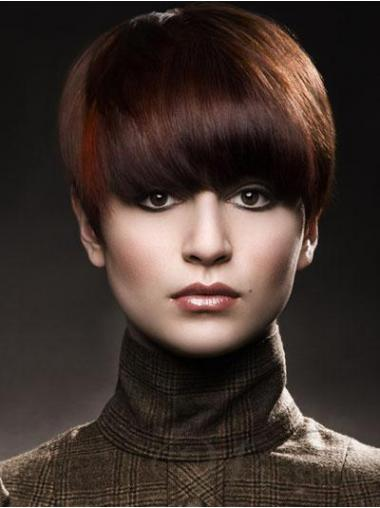 Rotbrauner Glatten Haarschnitt Kurzen Perücken