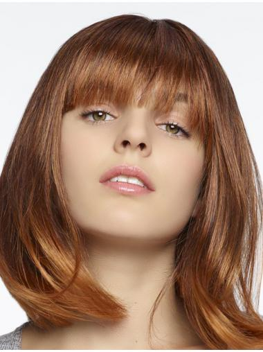 Reizvolle Halblange Glatte Rotbraune Romantische Perücken