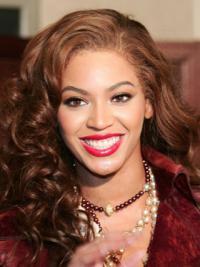 """Beyonce Knowles Echthaar Längeren piral-Gelockten Mono-Filmansatzperücken etwa 16"""""""
