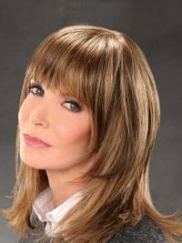 Jaclyn Smith Trendige Tease Mittleren Stufigen Glatten Mono-Filmansatz Echthaarperücken