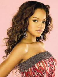 Rotbraune Gelockten  Idealen Rihanna EchthaarPerücken